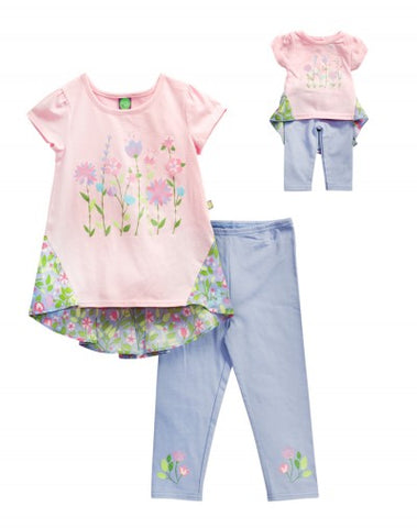 DOLLIE & ME SECRET GARDEN LEGGING SET WITH MATCHING OUTFIT FOR 18 INCH DOLL
