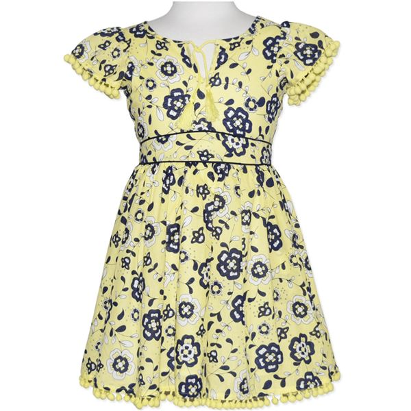 GIRLS' YELLOW/NAVY FLORAL PRINTED DRESS