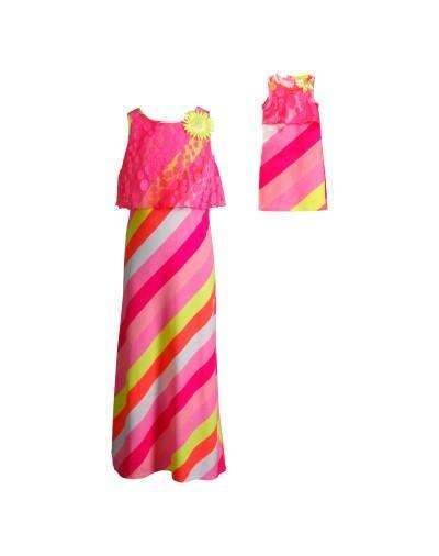 SUMMERTIME STRIPES MAXI FASHION DRESS WITH MATCHING DOLL OUTFIT