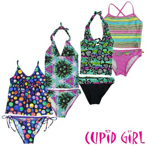 CUPID GIRLS' 2PCS TANKINI SET