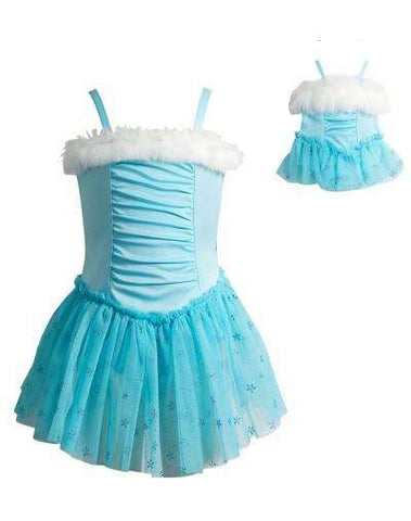 ICE PRINCESS DANCE LEOTARD WITH MATCHING OUTFIT FOR 18 INCH DOLL