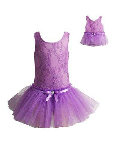 LILAC LACE BALLERINA BALLET TUTU AND MATCHING DOLL OUTFIT