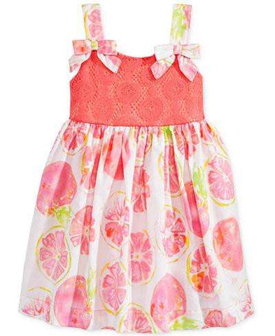 BABY GIRLS' CORAL GRAPEFRUIT SUNDRESS