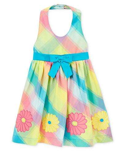 BABY GIRLS' PLAID DAISY HALTER DRESS