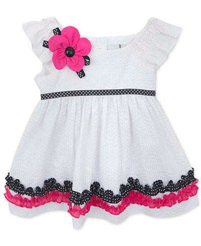 BABY GIRLS' WHITE SEERSUCKER DRESS