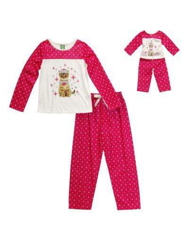 PRINCESS KITTEN TWO PIECE PAJAMA SLEEPWEAR SET WITH MATCHING DOLL OUTFIT