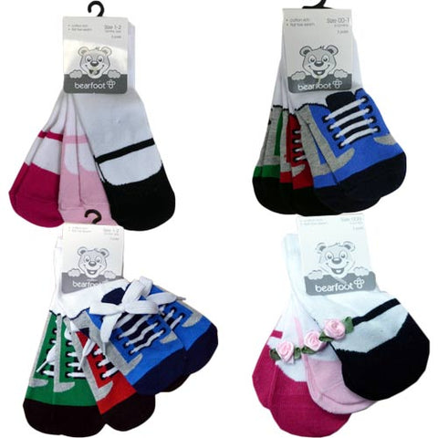 ADORABLE & SIMPLY CUTE BABY BEARFOOT 3PK SOCKS