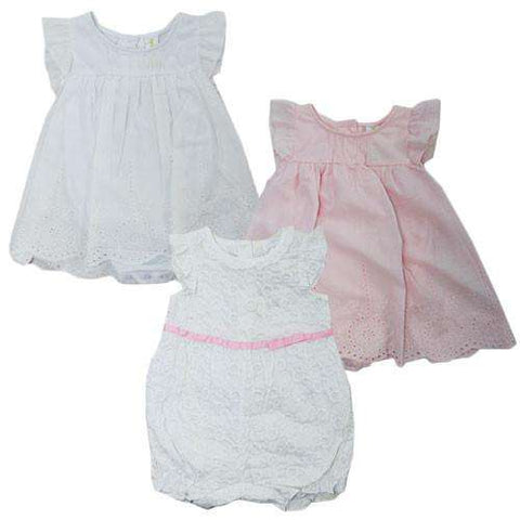 ADORABLE BABY GIRLS' BRODERIE SHIRRED ROMPER DRESSES