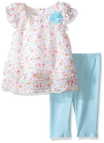 LITTLE GIRLS' BUTTERFLY PRINT CAPRI SET