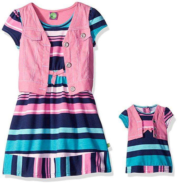 DOLLIE & ME GIRLS' STRIPED JERSEY DRESS WITH PINK MOCK VEST