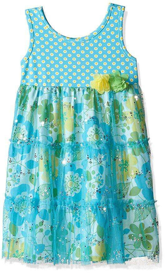 GIRLS' DOT TO FLORAL PRINT WITH SPANGLED MESH DRESS