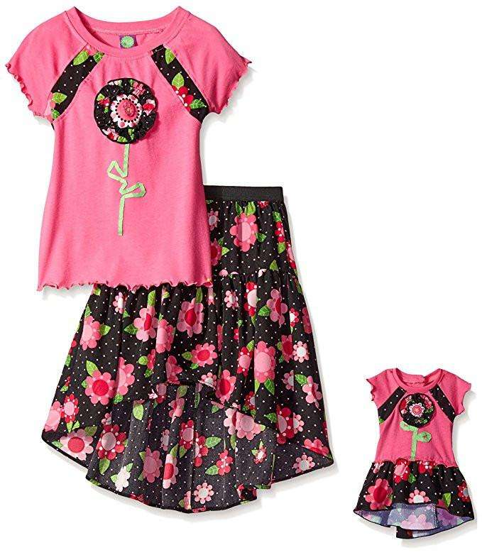 GIRLS' SHORT SLEEVE TOP WITH HI-LOW SKIRT & MATCHING OUTFIT FOR 18 INCH DOLL