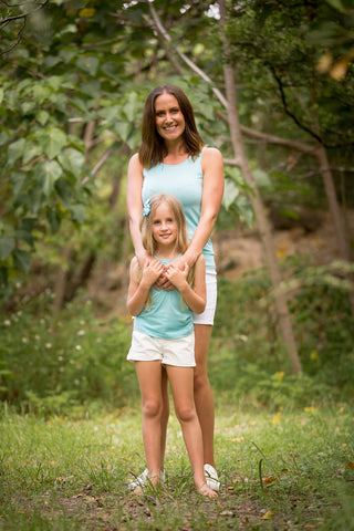 MATCHING CHILD & MUM AQUA LACE BACK TANK TOPS