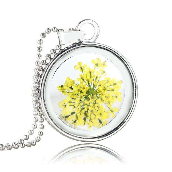 VINTAGE PRESSED FLOWER NECKLACE WITH GLASS DRIED FLOWERS