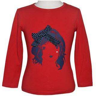 BABY GIRLS' PRINTED NAVY FACE L/S RED TOPS