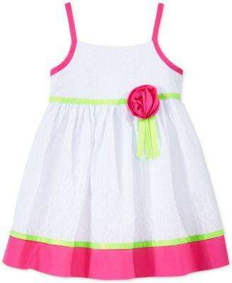 BABY GIRLS' FLORAL PRINT COLORBLOCKED DRESS