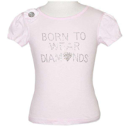 GIRLS' PINK TEE WITH FLORAL APPLIQUE