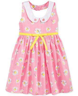 BABY GIRLS' FLORAL PRINT PETER PAN COLLAR HALTER DRESS