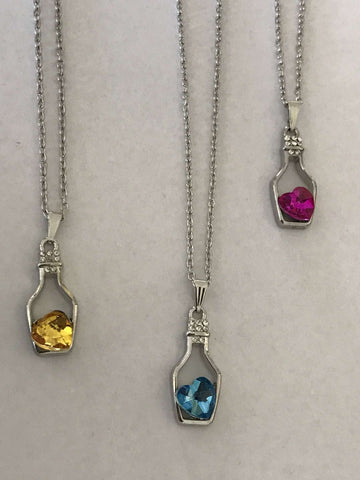 FASHION CRYSTAL NECKLACE WITH BOTTLE