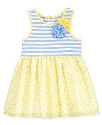 BABY GIRLS' STRIPE AND CHIFFON DRESS