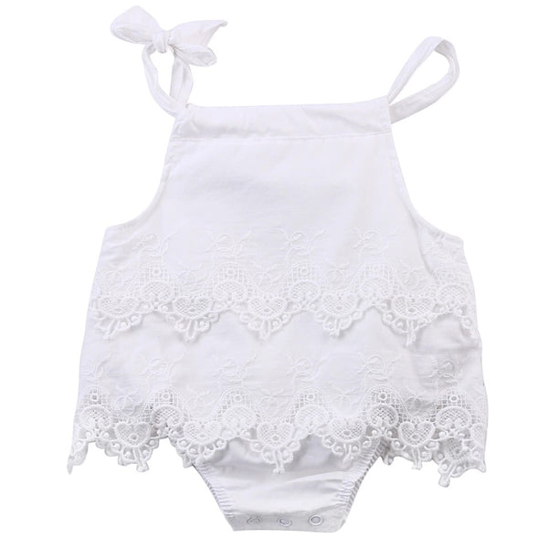 BABY GIRLS' LACE SLEEVELESS COTTON ROMPER
