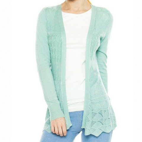 Textured Knit Cardigan - Dusty Mint