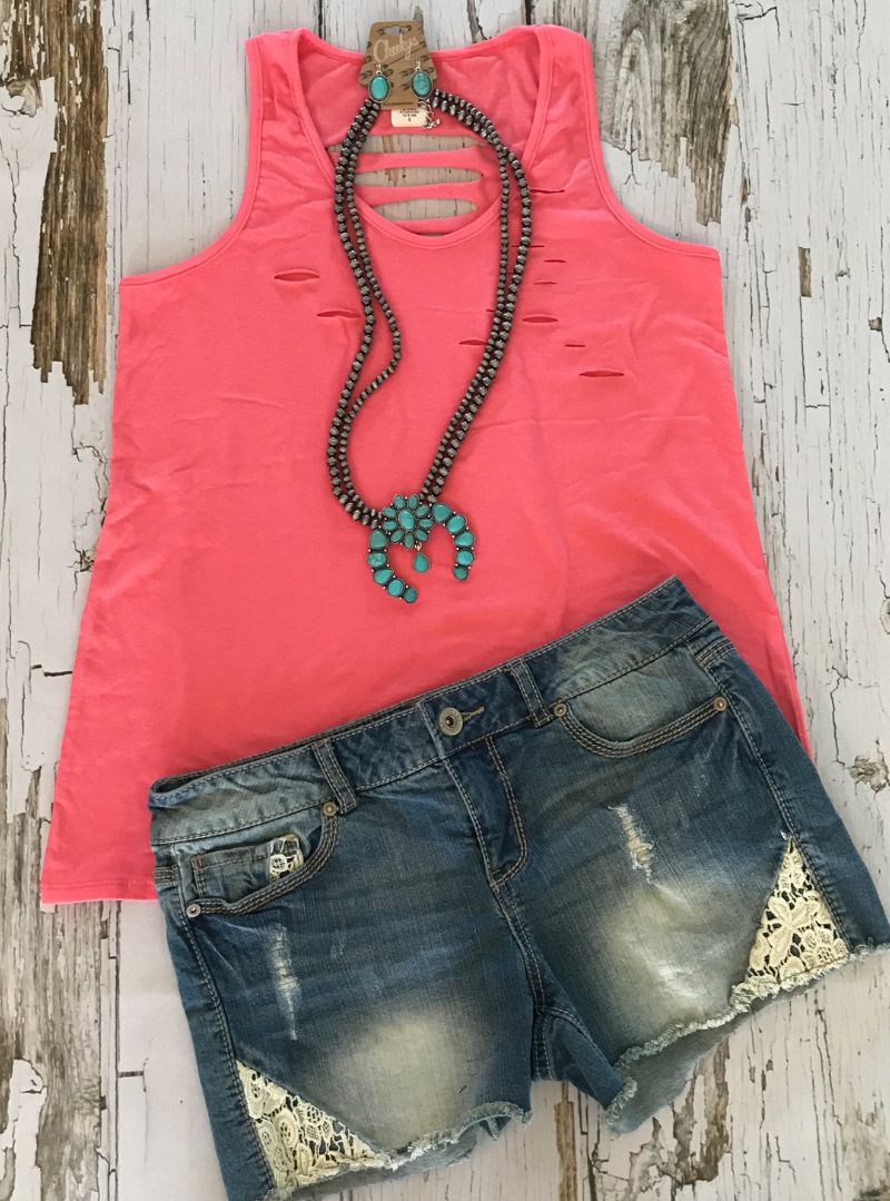 Distressed Tank Top - Coral