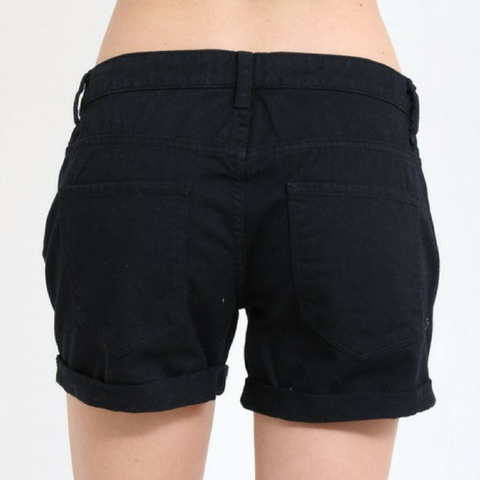 Black Destroyed Shorts