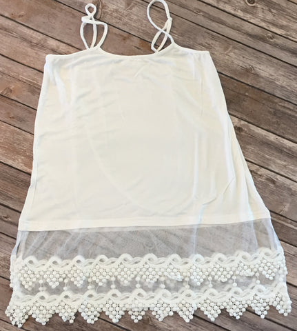 Lace Trimmed Tank - White