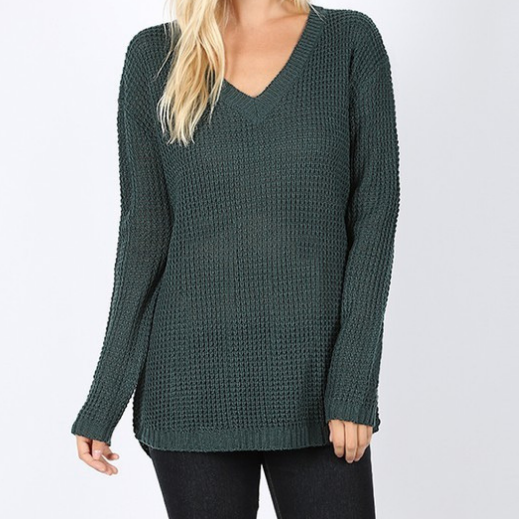 Waffle Sweater - Hunter Green