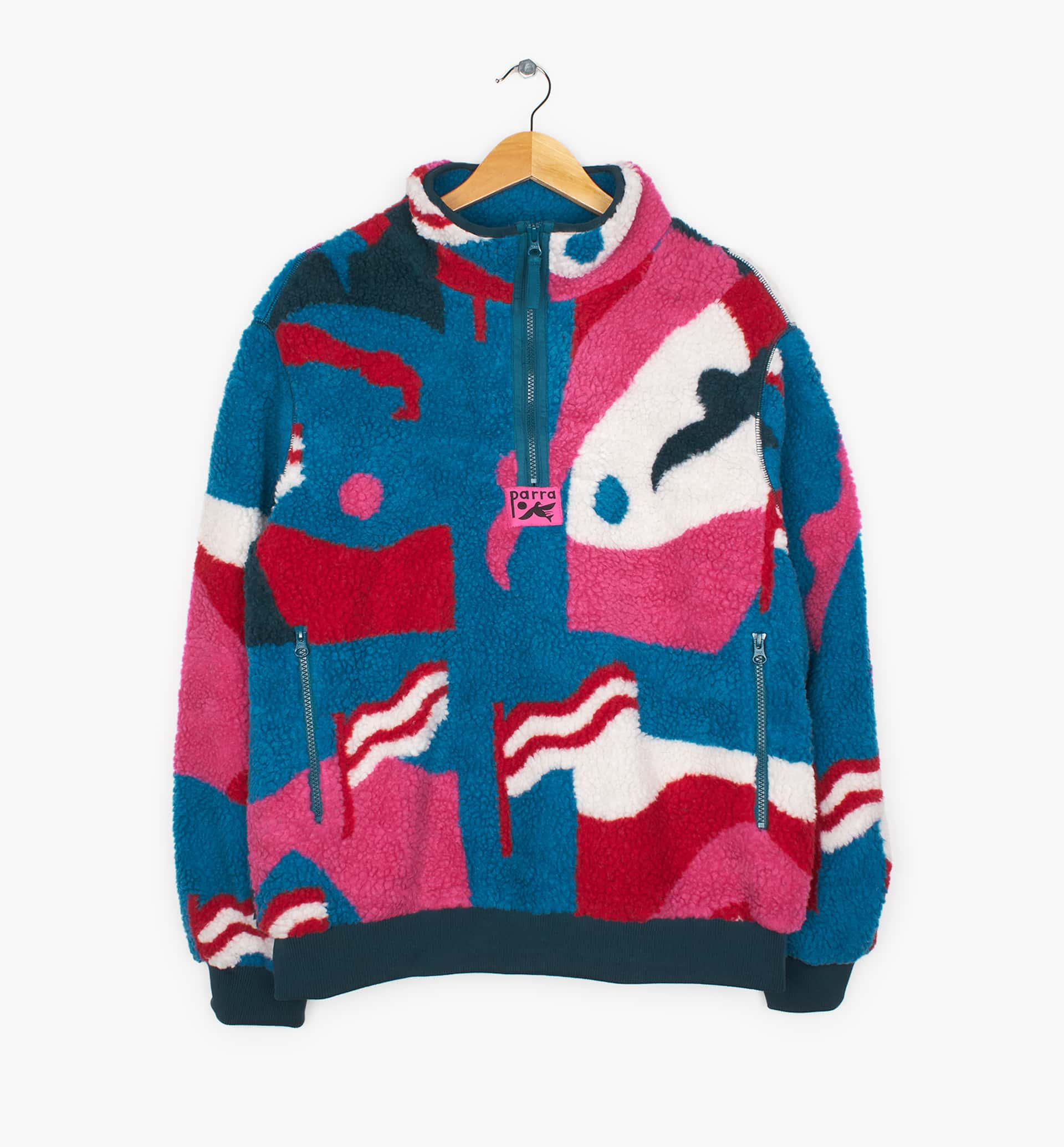 Parra - flag mountain racer sherpa fleece pullover