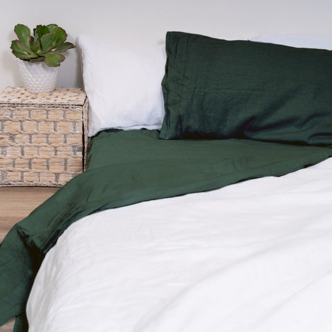Image of 100% Flax Linen Flat Sheet - Green