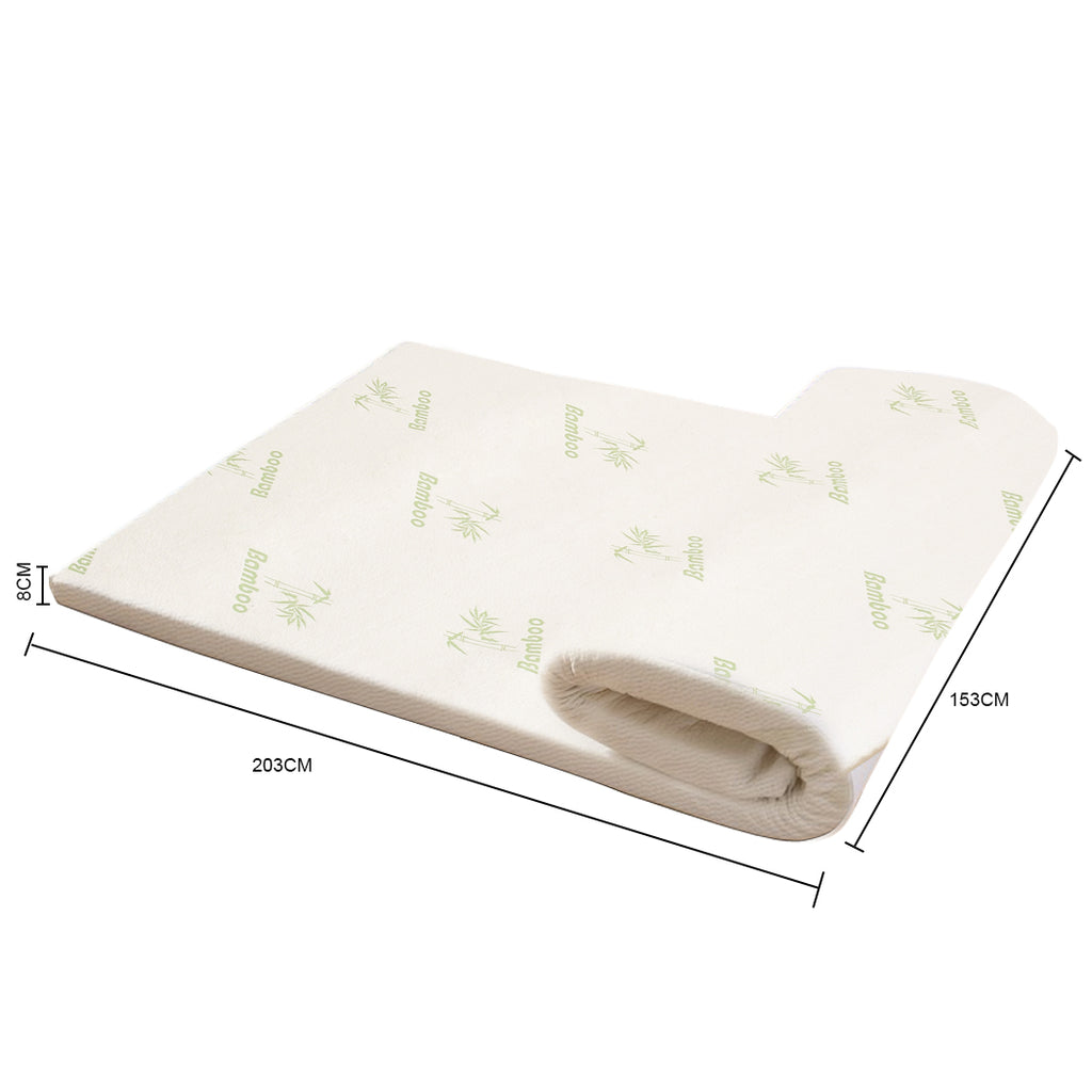 Cool Gel Memory Foam Bed Mattress Topper Bamboo Cover - 8cm Thick