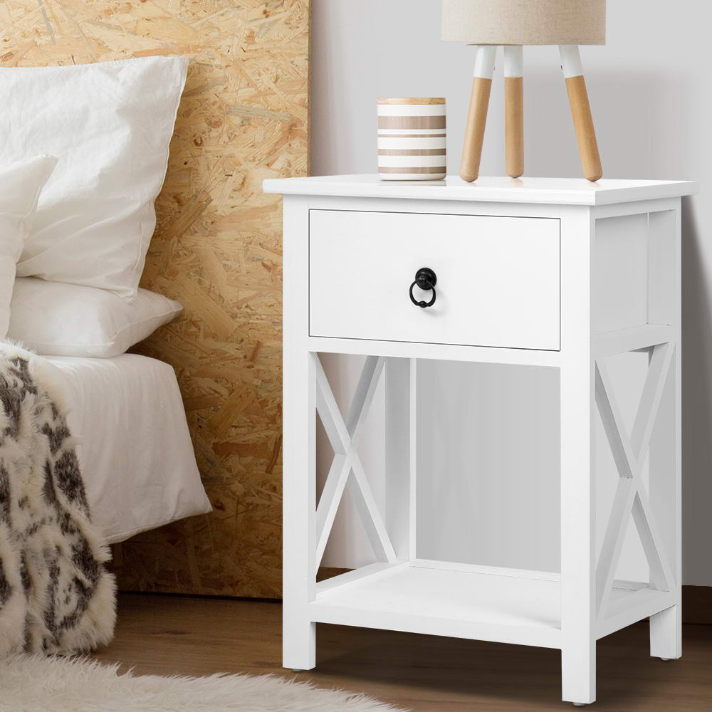 Bedside Tables Drawers Side Table Nightstand Lamp Chest Unit Cabinet x2