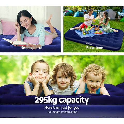Queen Size Air Bed Inflatable Mattress With Built In Pump - 22cm High - Navy