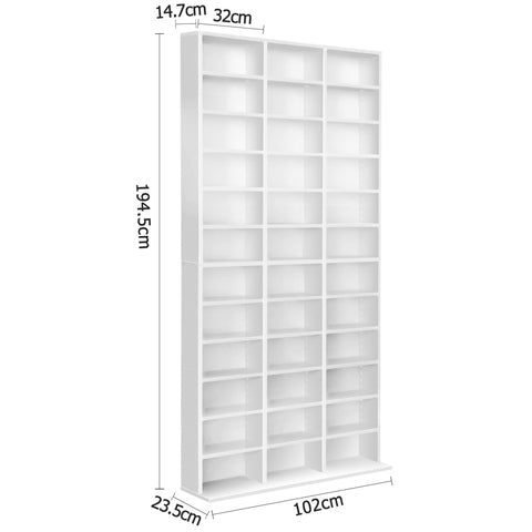Image of Adjustable Book Storage Shelf Rack Unit - White