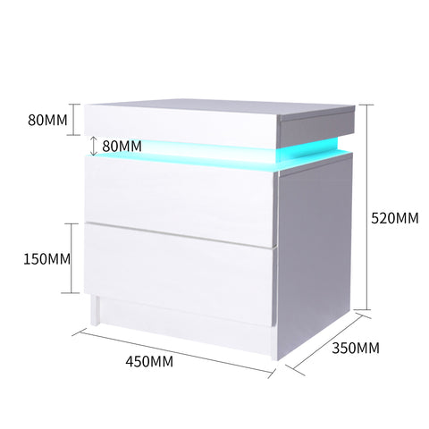 Levede Bedside Tables Drawers RGB LED Storage Cabinet High Gloss Nightstand