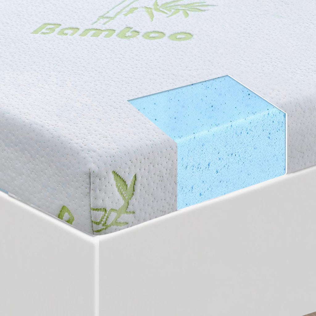 Cool Gel Memory Foam Mattress Topper with Bamboo Cover - 8cm Thick