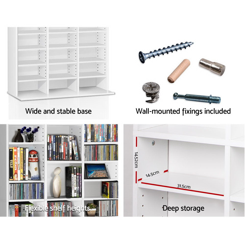 Adjustable Book Storage Shelf Rack Unit - White