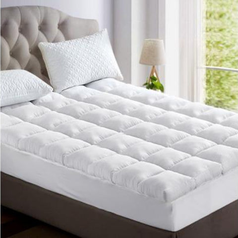 Image of Hypoallergenic Bamboo Pillowtop Mattress Topper 1000gsm