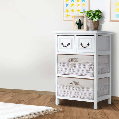 Cottage Chest of Drawers Bedside Table - White