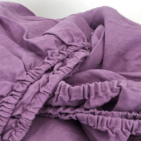 Image of 100% Pure Flax Linen Fitted Bottom Sheet - Purple