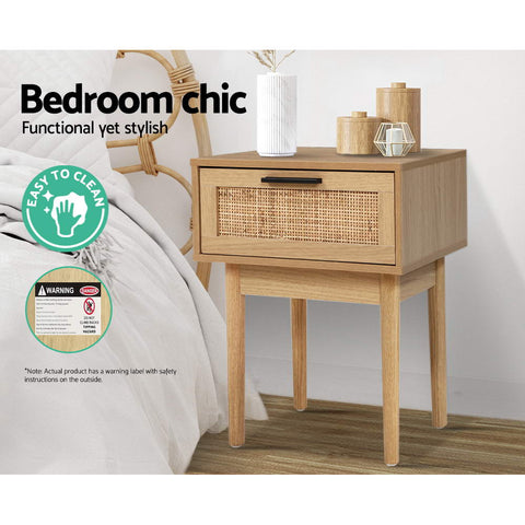 Rattan and Wood Bedside Table