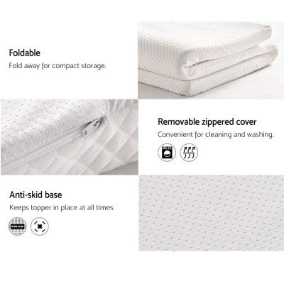 Image of Memory Foam Mattress Topper With Washable Cover 5 7 or 8cm Thick