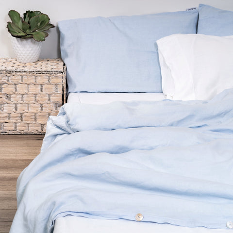 Image of 100% Linen Quilt Cover - Blue