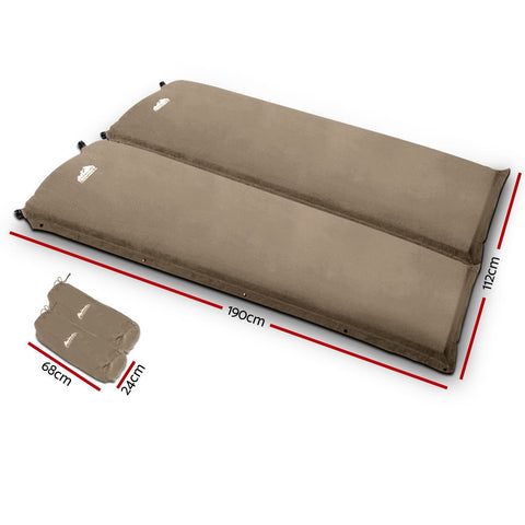 Image of Double / 2xSingle Size Self Inflating Mattress - 10cm Thick - Beige