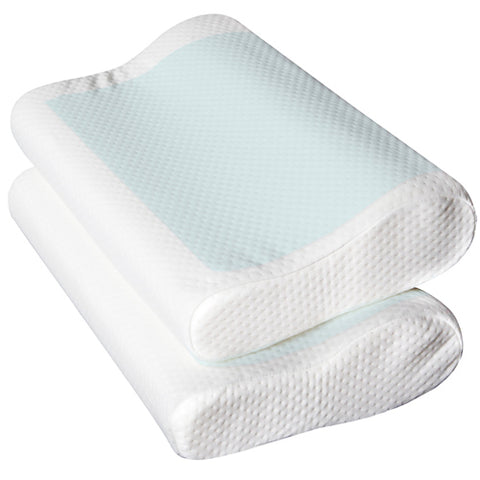Image of Pillow - Cool Gell Memory Foam Contoured Pillows x 2  (For Sore Necks)