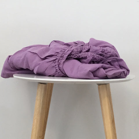 Image of 100% Flax Linen Fitted Bottom Sheet - Purple