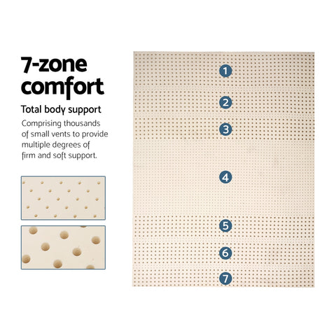 100% Natural Latex Mattress Topper - 5cm 7.5cm Thick
