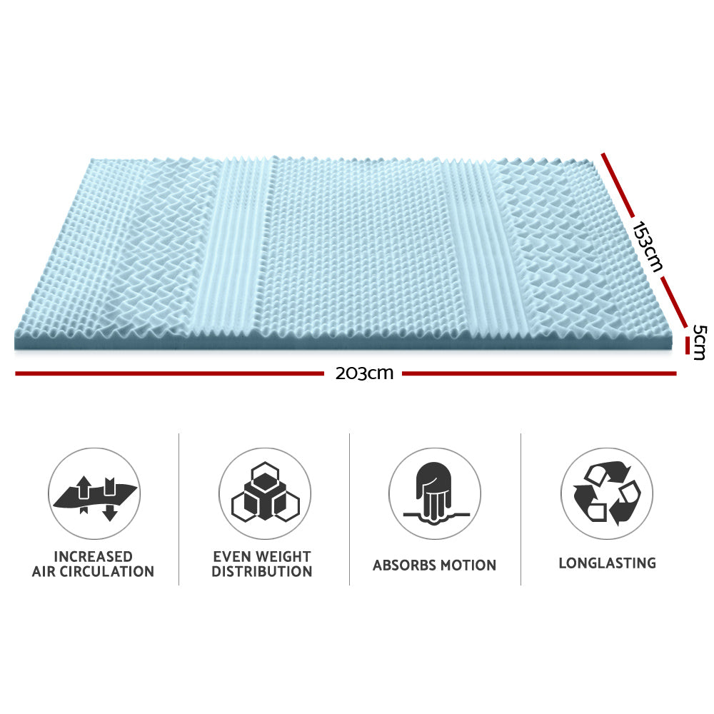 7 Zone Visco Memory Foam Mattress Topper - 5cm or 8cm - For Sore backs